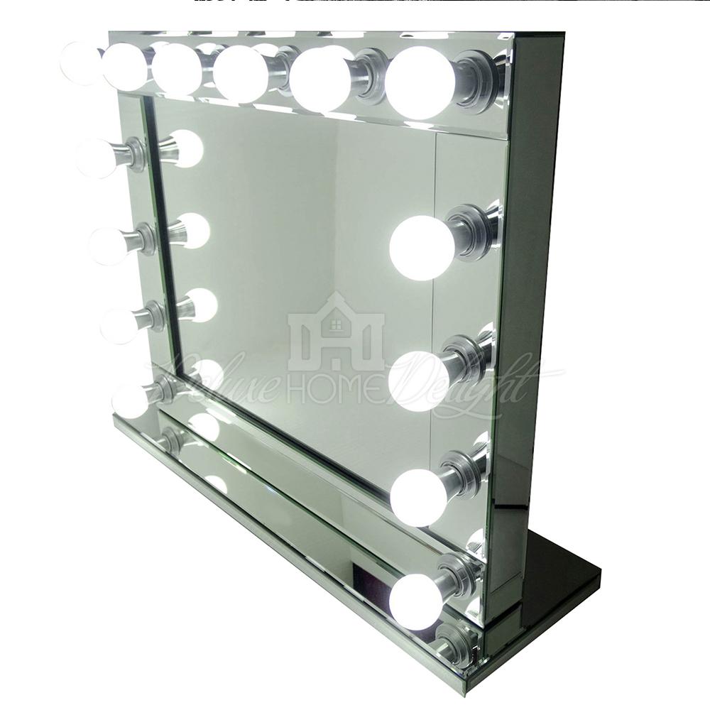 hollywood makeup mirror professional large 14 soft warm led lights no glare. Black Bedroom Furniture Sets. Home Design Ideas